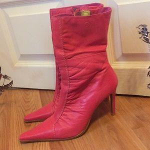 Bronx pink leather heels booties 8